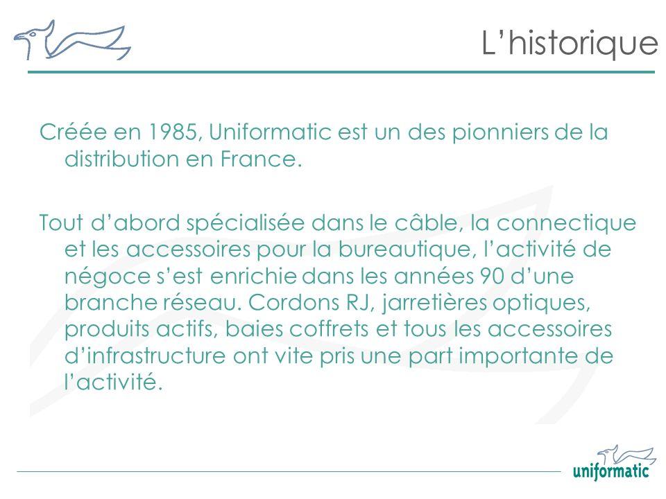 L'historiqueCréée en 1985, Uniformatic est un des pionniers de la distribution en France.