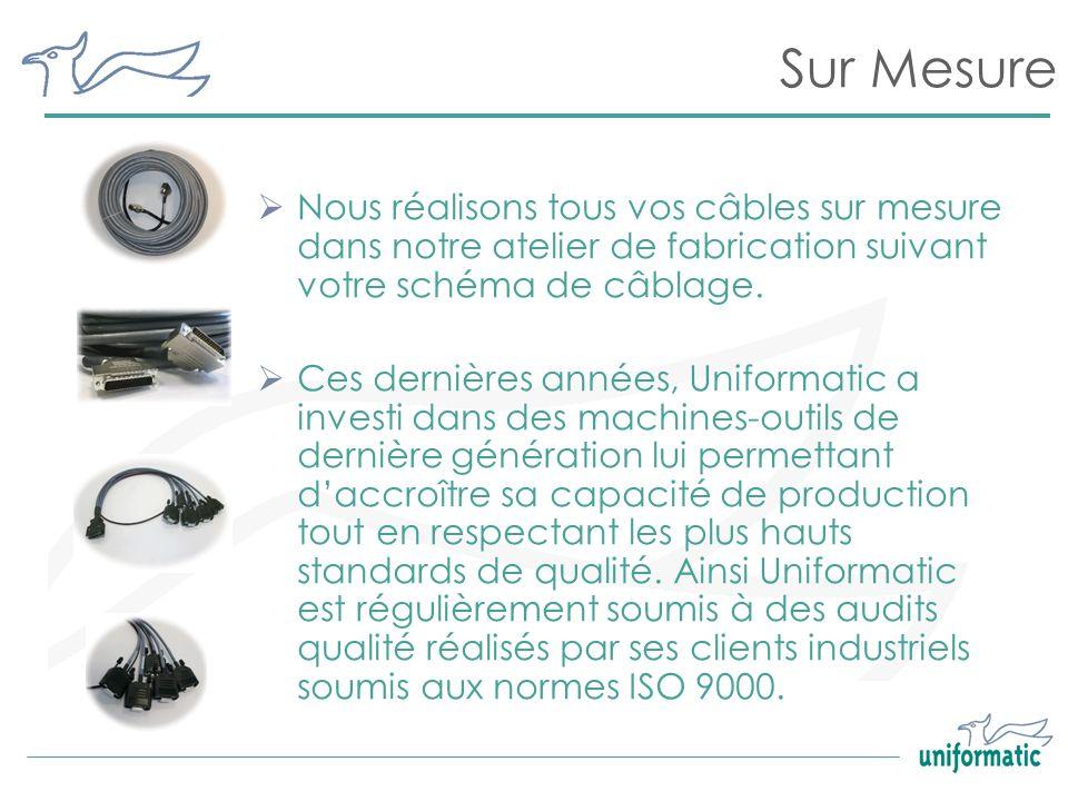 Sur MesureNous réalisons tous vos câbles sur mesure dans notre atelier de fabrication suivant votre schéma de câblage.
