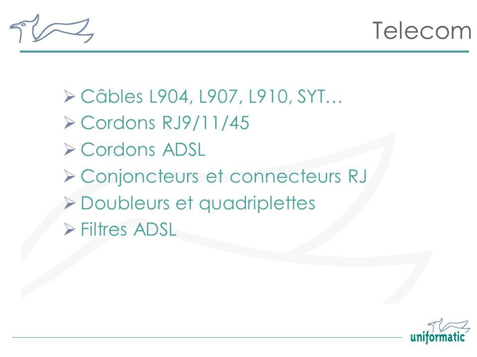 Telecom Câbles L904, L907, L910, SYT… Cordons RJ9/11/45 Cordons ADSL