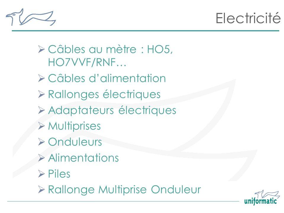 Electricité Câbles au mètre : HO5, HO7VVF/RNF… Câbles d'alimentation