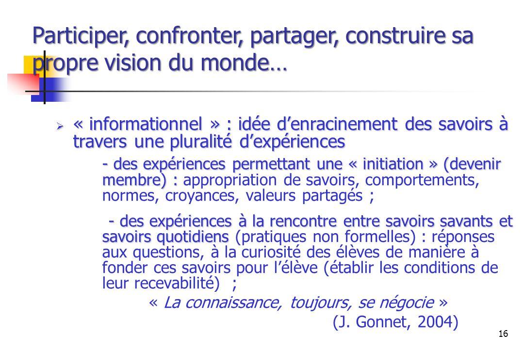 Participer, confronter, partager, construire sa propre vision du monde…