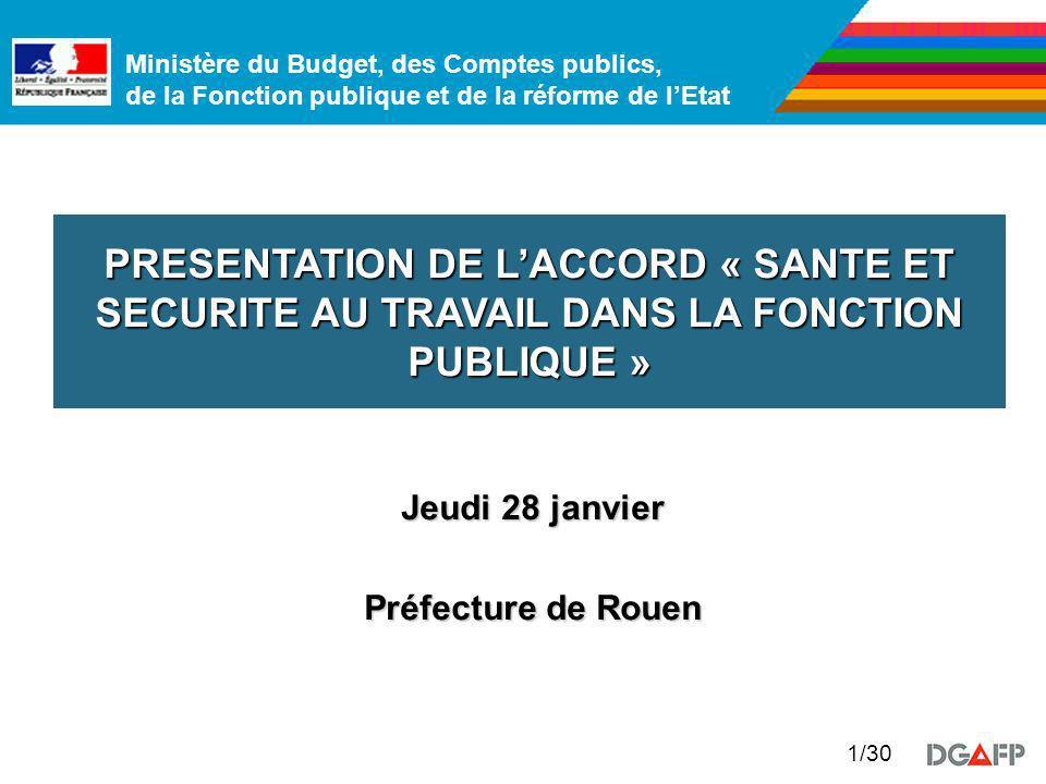 PRESENTATION DE L'ACCORD « SANTE ET SECURITE AU TRAVAIL DANS LA FONCTION PUBLIQUE »