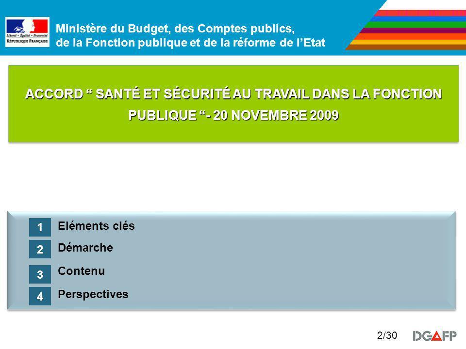 ACCORD SANTÉ ET SÉCURITÉ AU TRAVAIL DANS LA FONCTION PUBLIQUE - 20 NOVEMBRE 2009