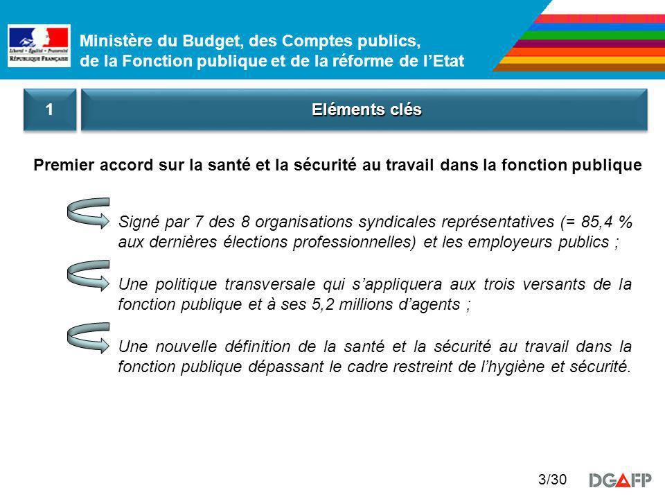 1 Eléments clés. Premier accord sur la santé et la sécurité au travail dans la fonction publique.