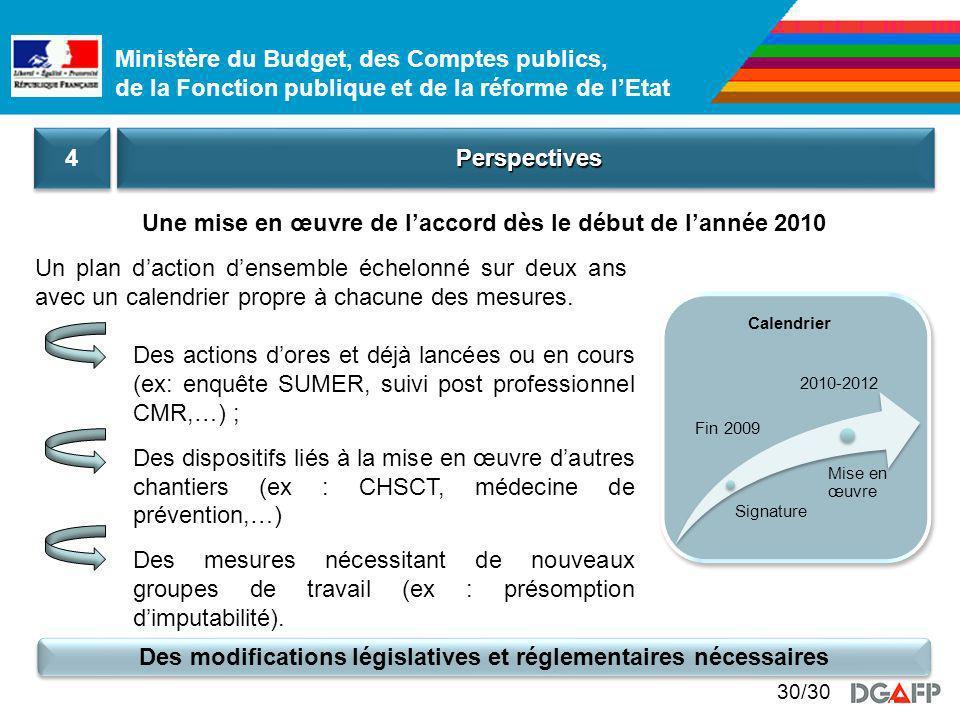 Une mise en œuvre de l'accord dès le début de l'année 2010