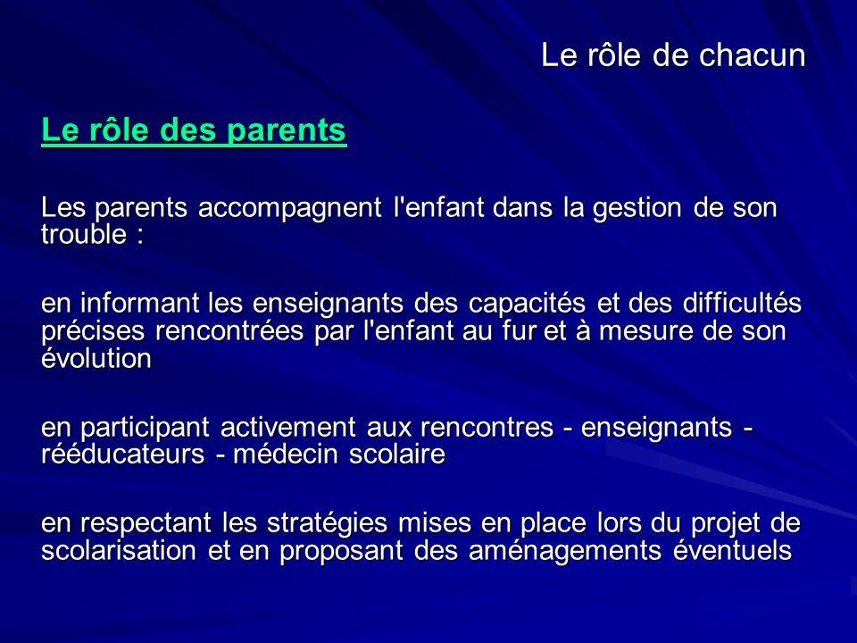 Le rôle de chacun Le rôle des parents. Les parents accompagnent l enfant dans la gestion de son trouble :