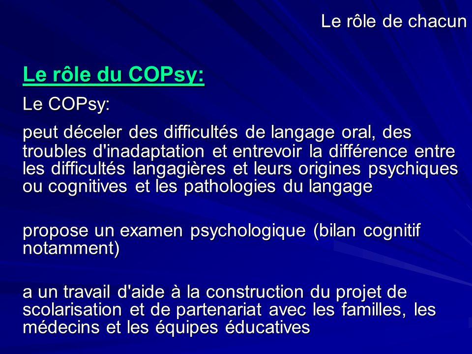 Le rôle du COPsy: Le COPsy: