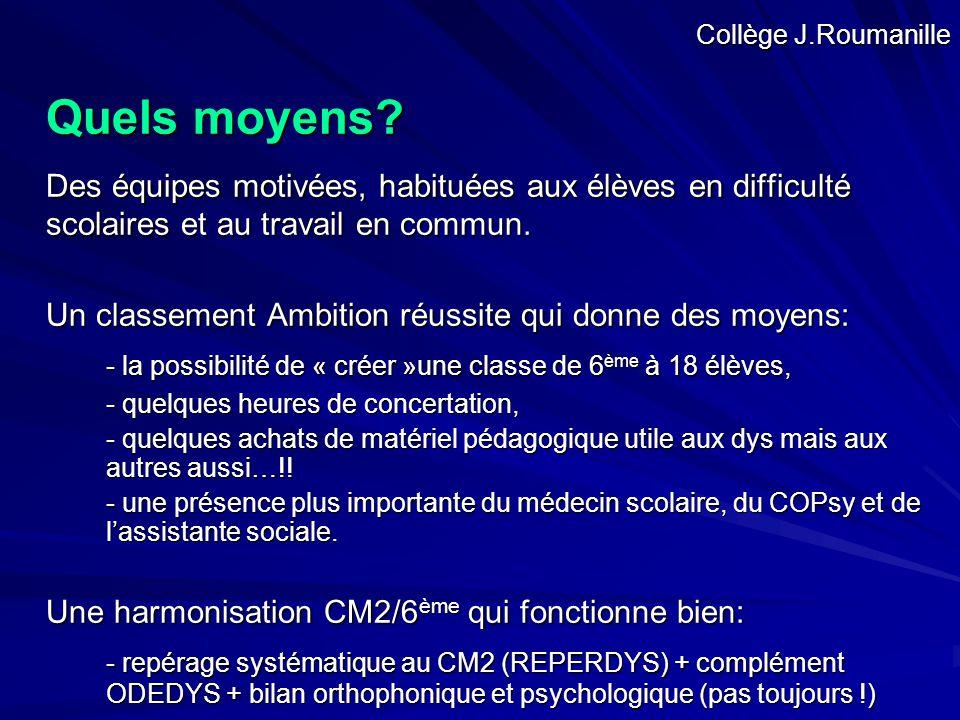Collège J.Roumanille Quels moyens Des équipes motivées, habituées aux élèves en difficulté scolaires et au travail en commun.