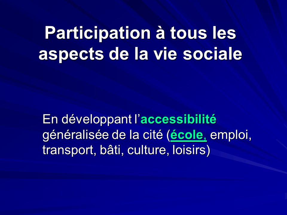 Participation à tous les aspects de la vie sociale