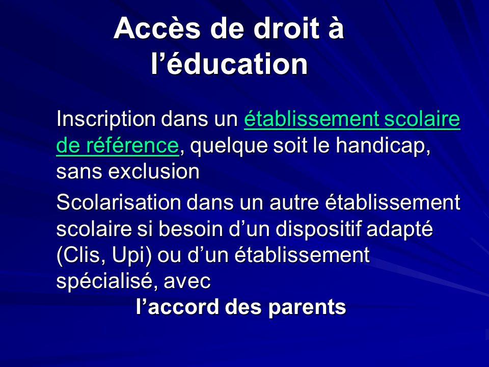 Accès de droit à l'éducation