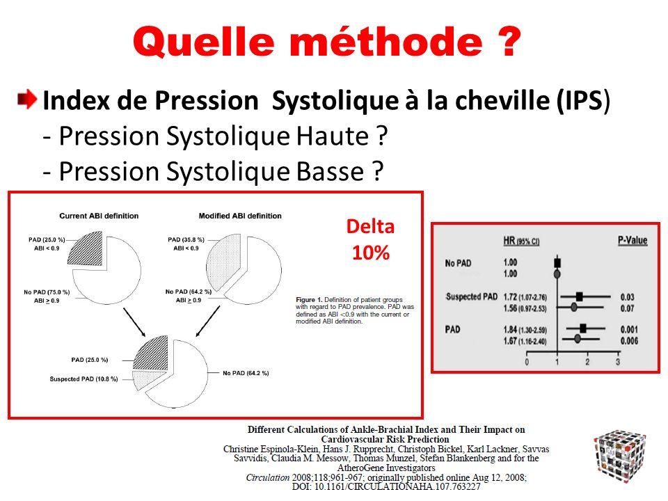Quelle méthode Index de Pression Systolique à la cheville (IPS) - Pression Systolique Haute - Pression Systolique Basse