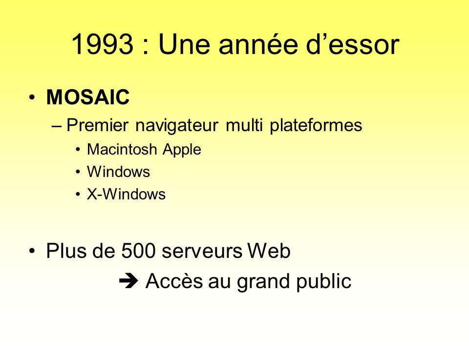 1993 : Une année d'essor MOSAIC Plus de 500 serveurs Web