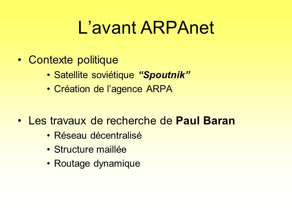 L'avant ARPAnet Contexte politique