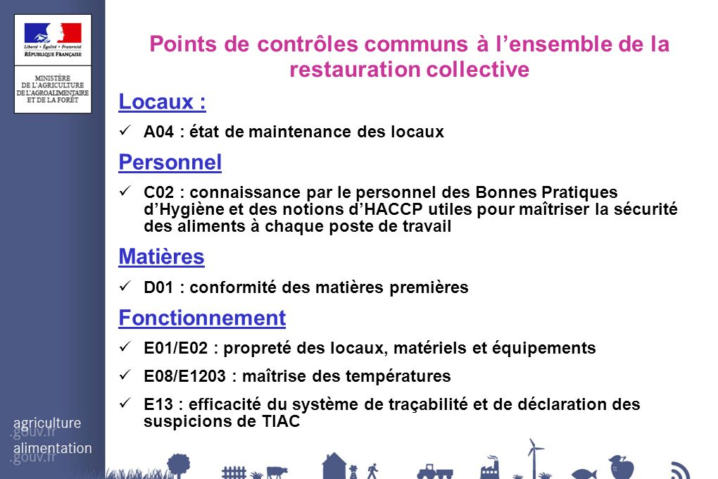 Points de contrôles communs à l'ensemble de la restauration collective