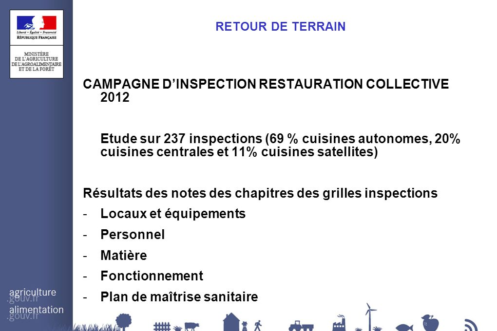 CAMPAGNE D'INSPECTION RESTAURATION COLLECTIVE 2012