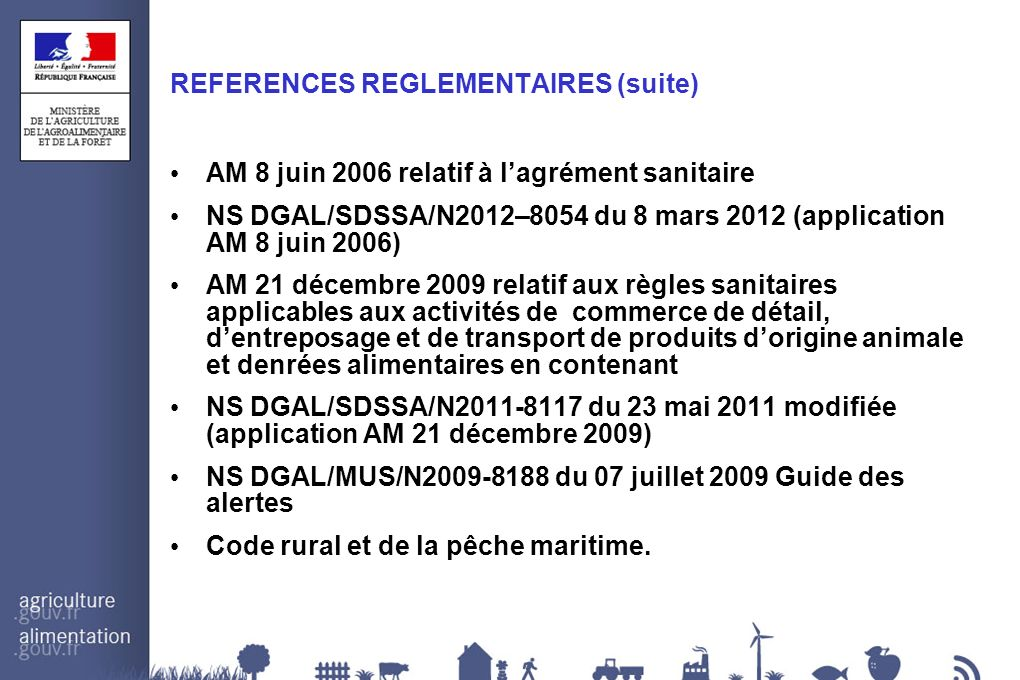 REFERENCES REGLEMENTAIRES (suite)