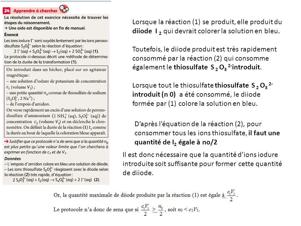 Lorsque la réaction (1) se produit, elle produit du diiode I 2 qui devrait colorer la solution en bleu.
