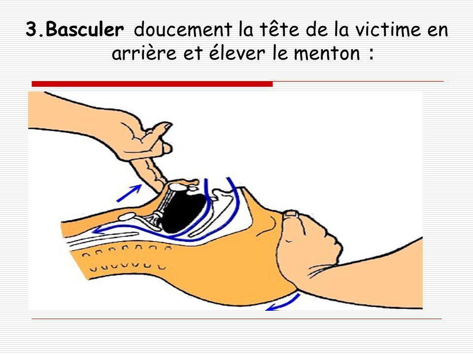 3.Basculer doucement la tête de la victime en arrière et élever le menton :