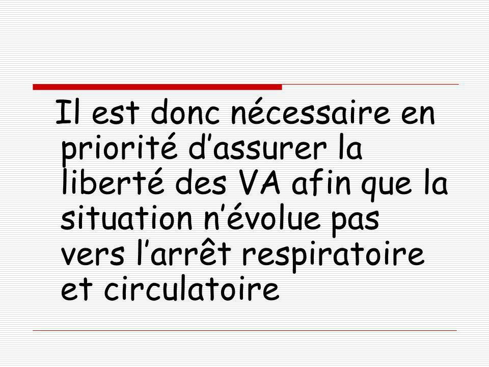 Il est donc nécessaire en priorité d'assurer la liberté des VA afin que la situation n'évolue pas vers l'arrêt respiratoire et circulatoire