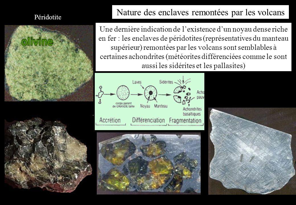 Nature des enclaves remontées par les volcans