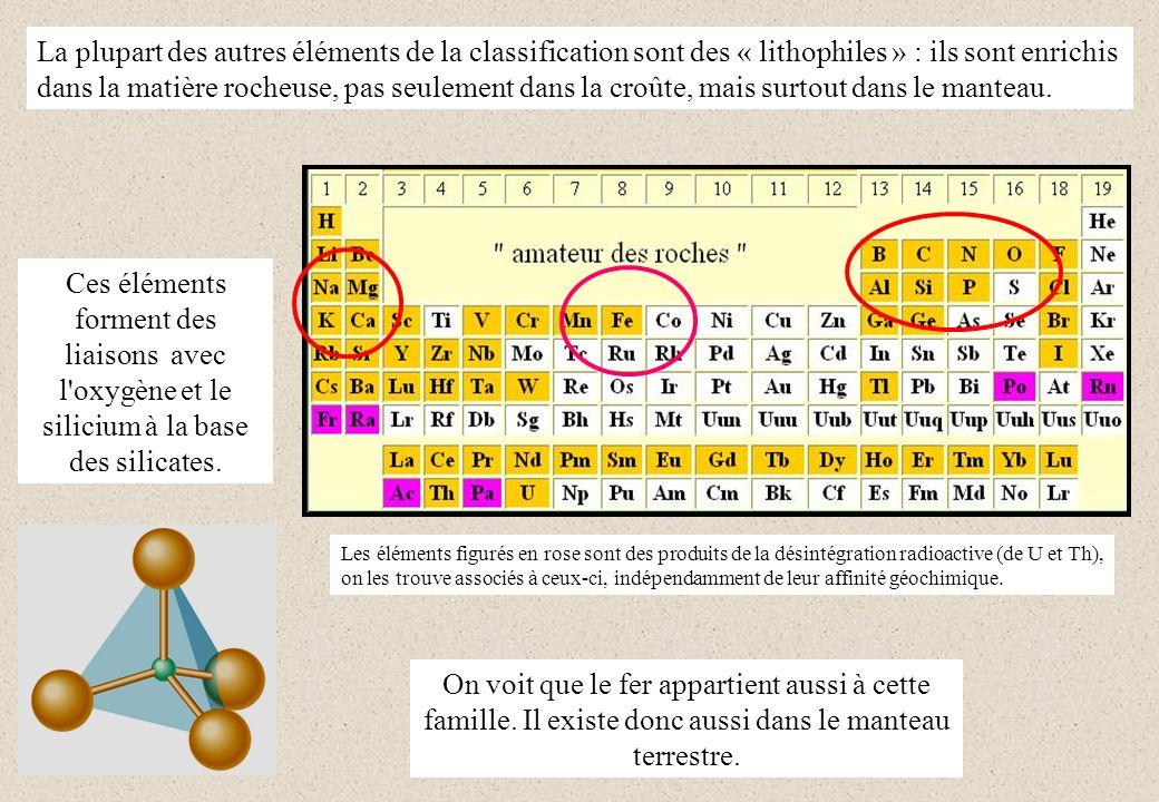 La plupart des autres éléments de la classification sont des « lithophiles » : ils sont enrichis dans la matière rocheuse, pas seulement dans la croûte, mais surtout dans le manteau.