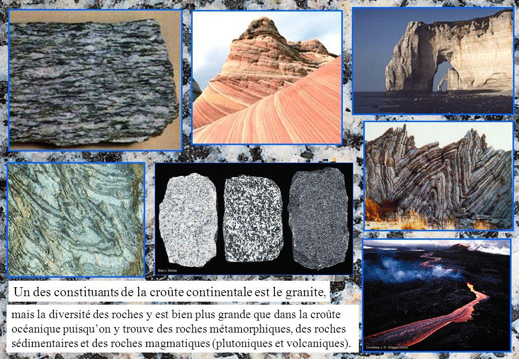 Un des constituants de la croûte continentale est le granite,