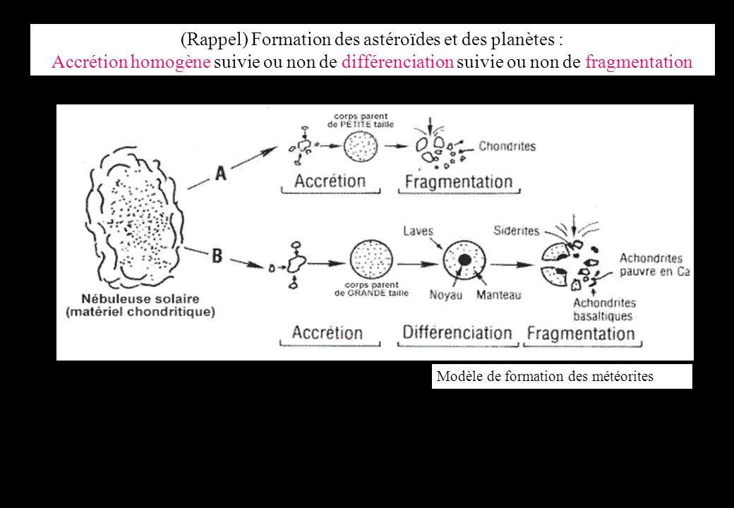 (Rappel) Formation des astéroïdes et des planètes : Accrétion homogène suivie ou non de différenciation suivie ou non de fragmentation