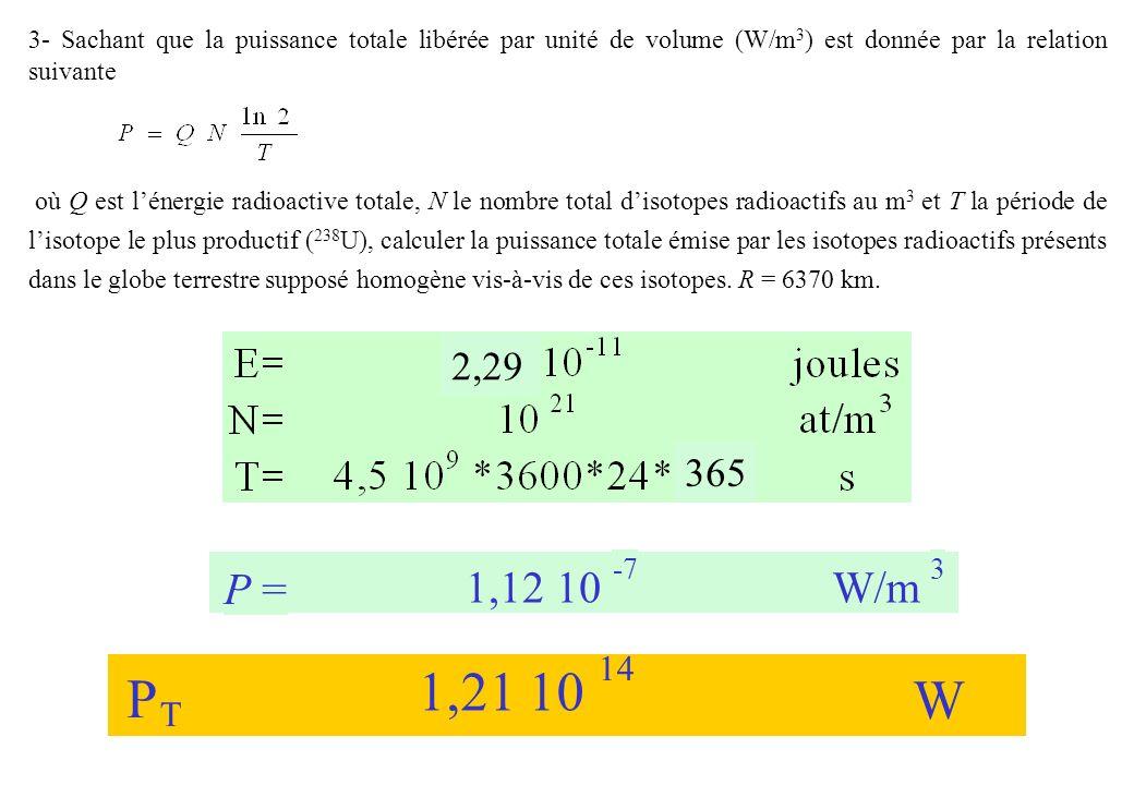 3- Sachant que la puissance totale libérée par unité de volume (W/m3) est donnée par la relation suivante