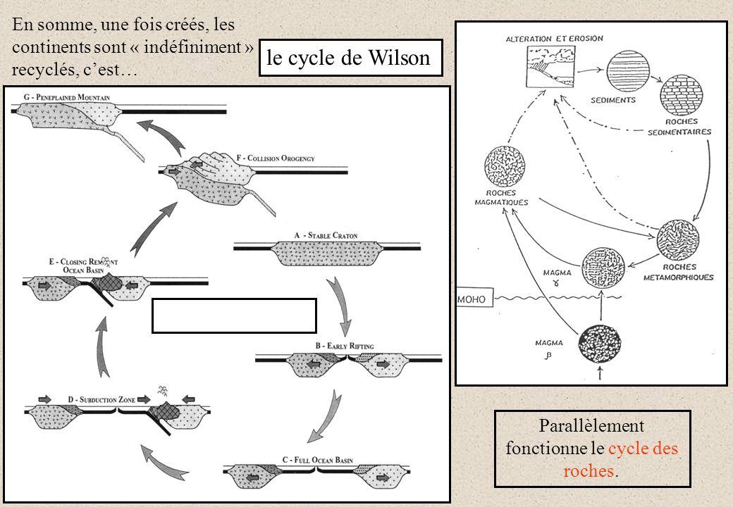 Parallèlement fonctionne le cycle des roches.