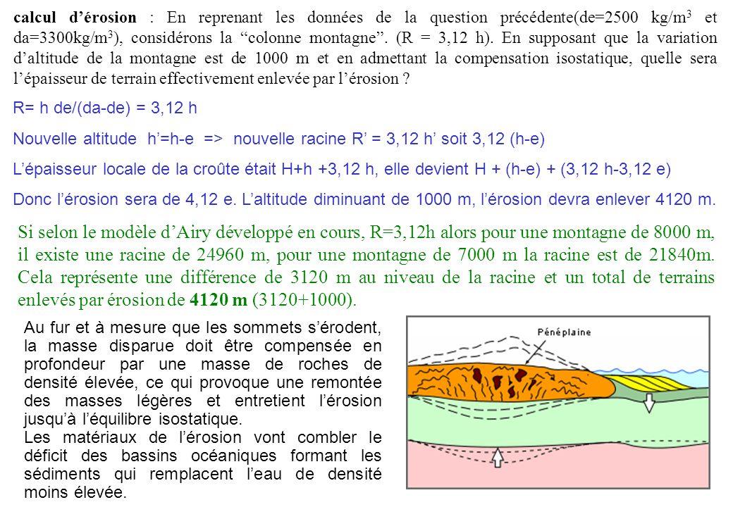 calcul d'érosion : En reprenant les données de la question précédente(de=2500 kg/m3 et da=3300kg/m3), considérons la colonne montagne . (R = 3,12 h). En supposant que la variation d'altitude de la montagne est de 1000 m et en admettant la compensation isostatique, quelle sera l'épaisseur de terrain effectivement enlevée par l'érosion