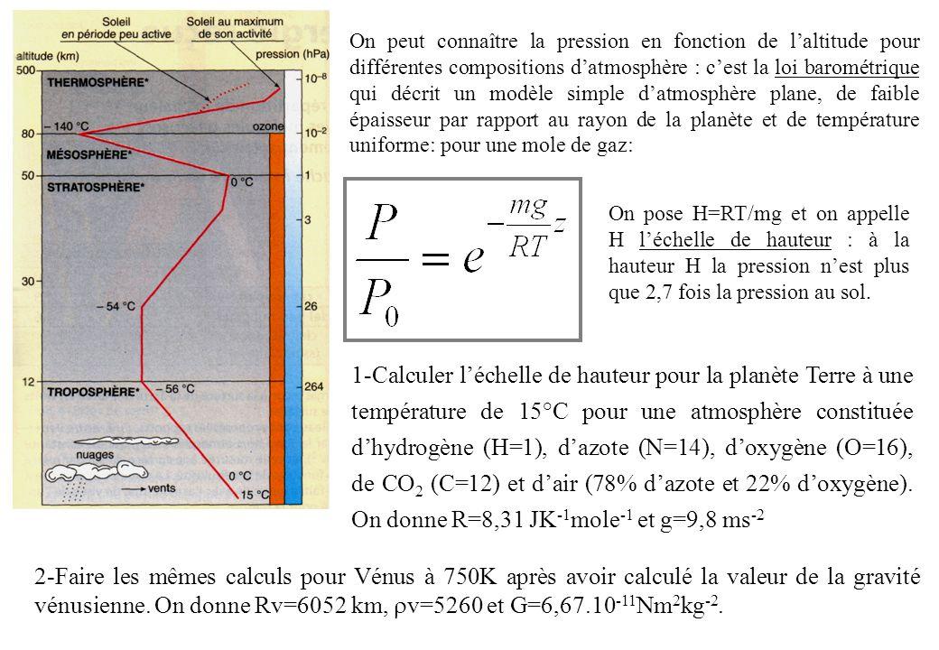 On peut connaître la pression en fonction de l'altitude pour différentes compositions d'atmosphère : c'est la loi barométrique qui décrit un modèle simple d'atmosphère plane, de faible épaisseur par rapport au rayon de la planète et de température uniforme: pour une mole de gaz: