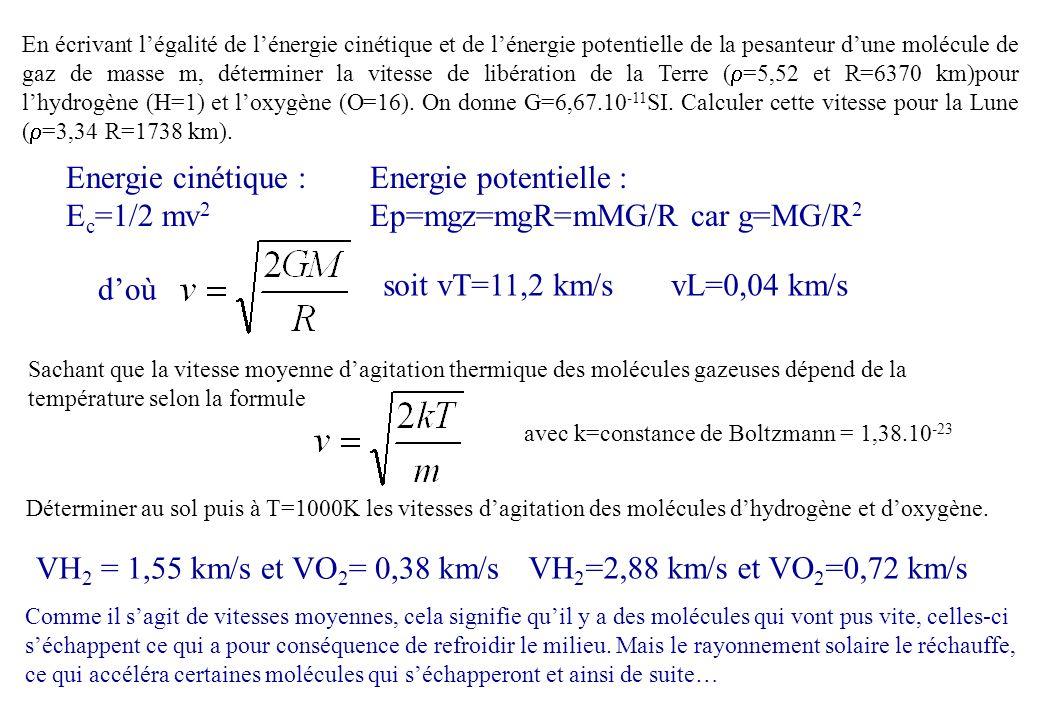 Energie cinétique : Ec=1/2 mv2