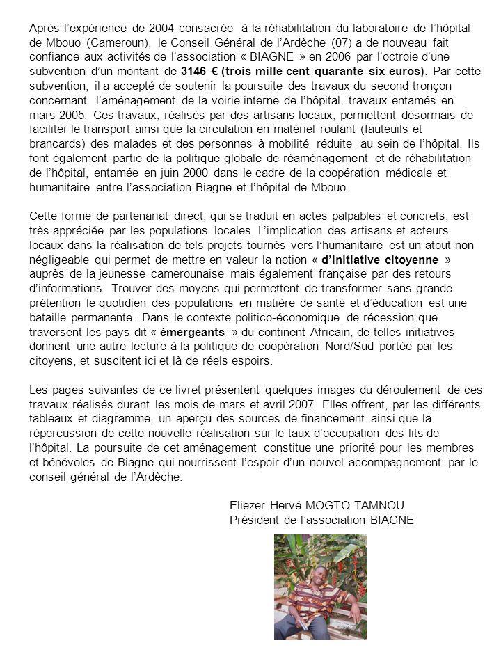 Après l'expérience de 2004 consacrée à la réhabilitation du laboratoire de l'hôpital de Mbouo (Cameroun), le Conseil Général de l'Ardèche (07) a de nouveau fait confiance aux activités de l'association « BIAGNE » en 2006 par l'octroie d'une subvention d'un montant de 3146 € (trois mille cent quarante six euros). Par cette subvention, il a accepté de soutenir la poursuite des travaux du second tronçon concernant l'aménagement de la voirie interne de l'hôpital, travaux entamés en mars 2005. Ces travaux, réalisés par des artisans locaux, permettent désormais de faciliter le transport ainsi que la circulation en matériel roulant (fauteuils et brancards) des malades et des personnes à mobilité réduite au sein de l'hôpital. Ils font également partie de la politique globale de réaménagement et de réhabilitation de l'hôpital, entamée en juin 2000 dans le cadre de la coopération médicale et humanitaire entre l'association Biagne et l'hôpital de Mbouo.