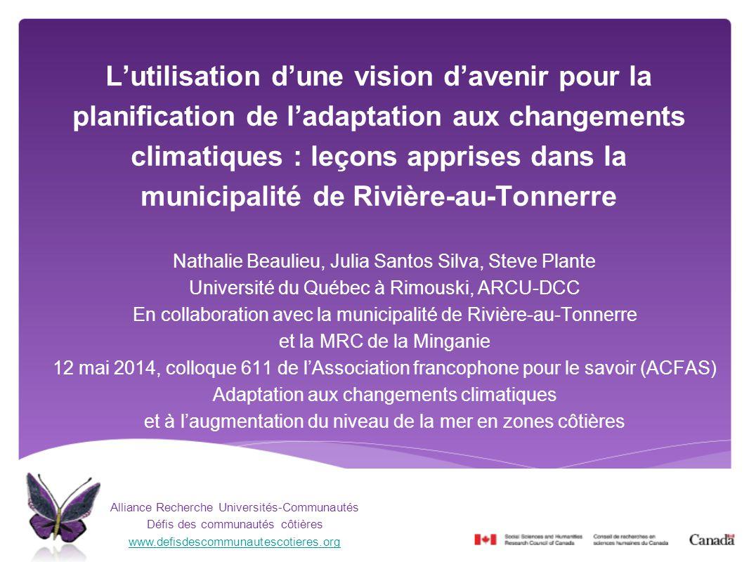 L'utilisation d'une vision d'avenir pour la planification de l'adaptation aux changements climatiques : leçons apprises dans la municipalité de Rivière-au-Tonnerre