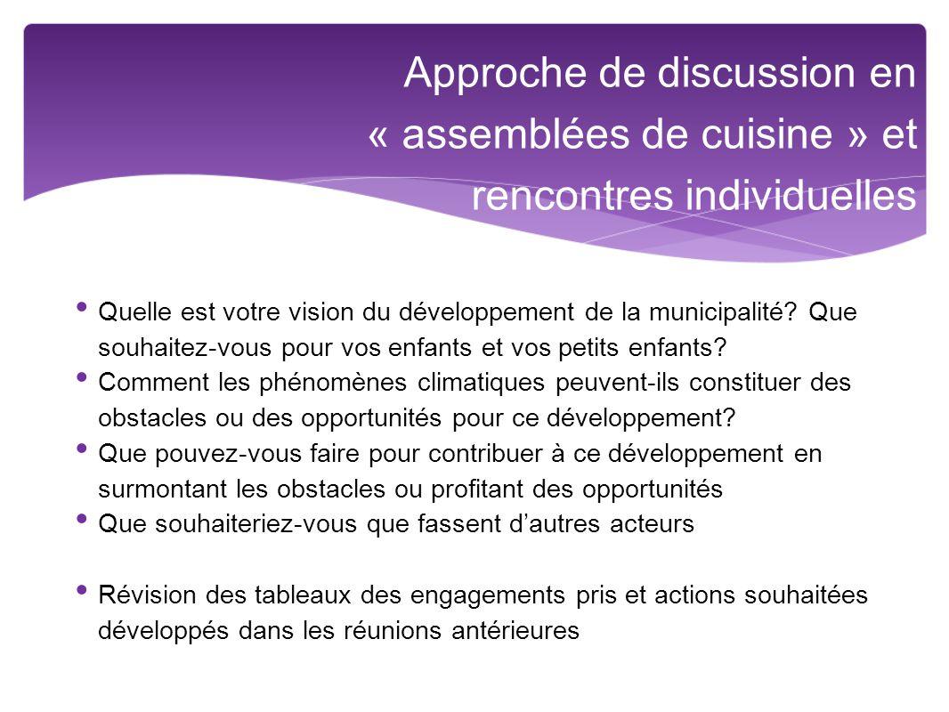 Approche de discussion en « assemblées de cuisine » et rencontres individuelles