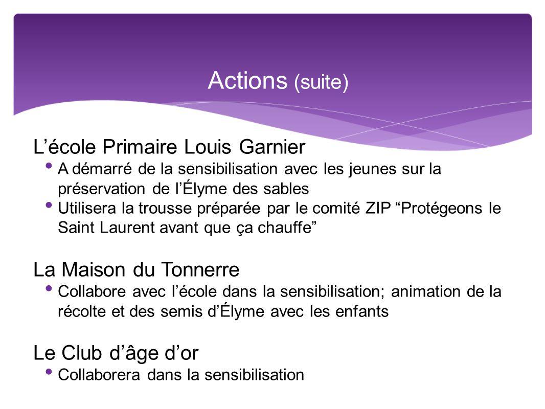 Actions (suite) L'école Primaire Louis Garnier La Maison du Tonnerre