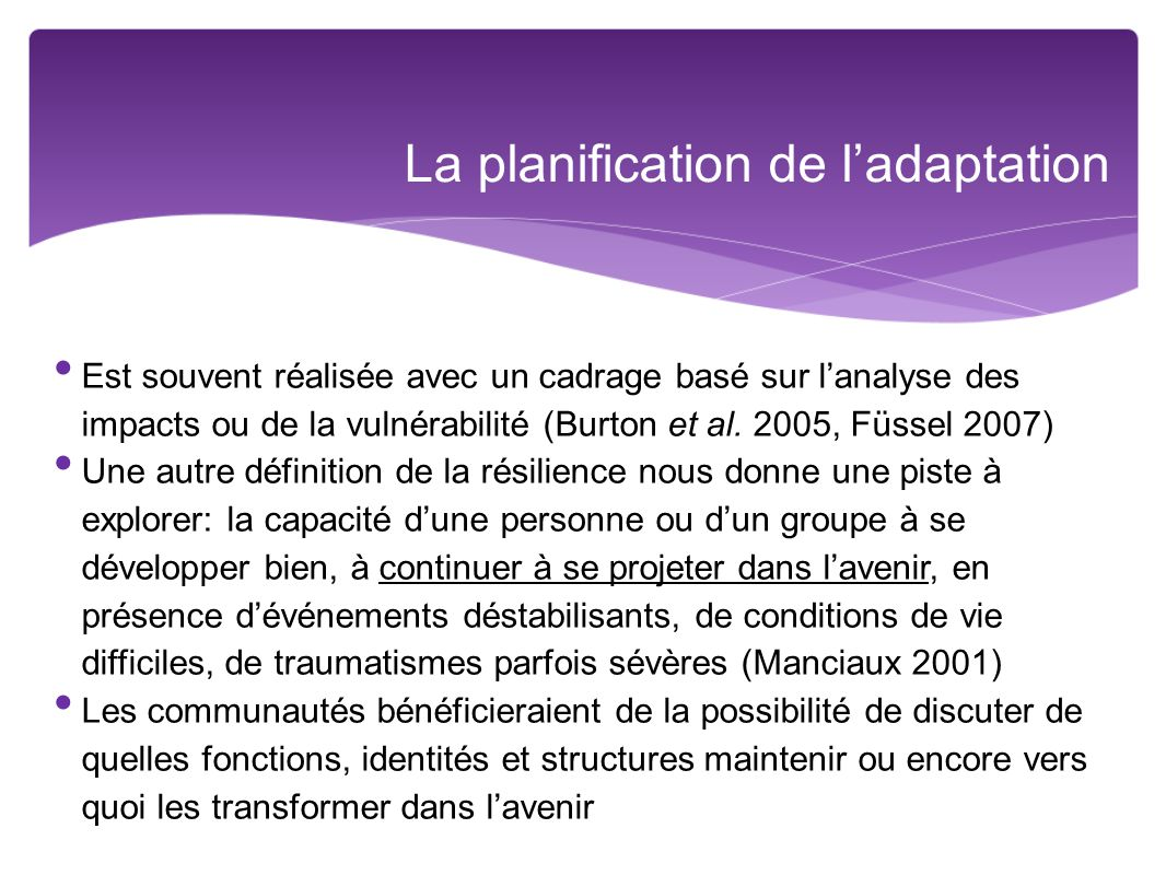 La planification de l'adaptation