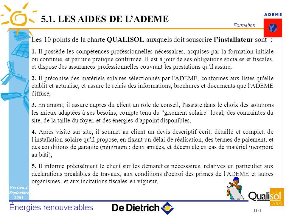 5.1. LES AIDES DE L'ADEME Les 10 points de la charte QUALISOL auxquels doit souscrire l'installateur sont :