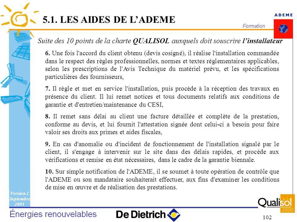 5.1. LES AIDES DE L'ADEME Suite des 10 points de la charte QUALISOL auxquels doit souscrire l'installateur.