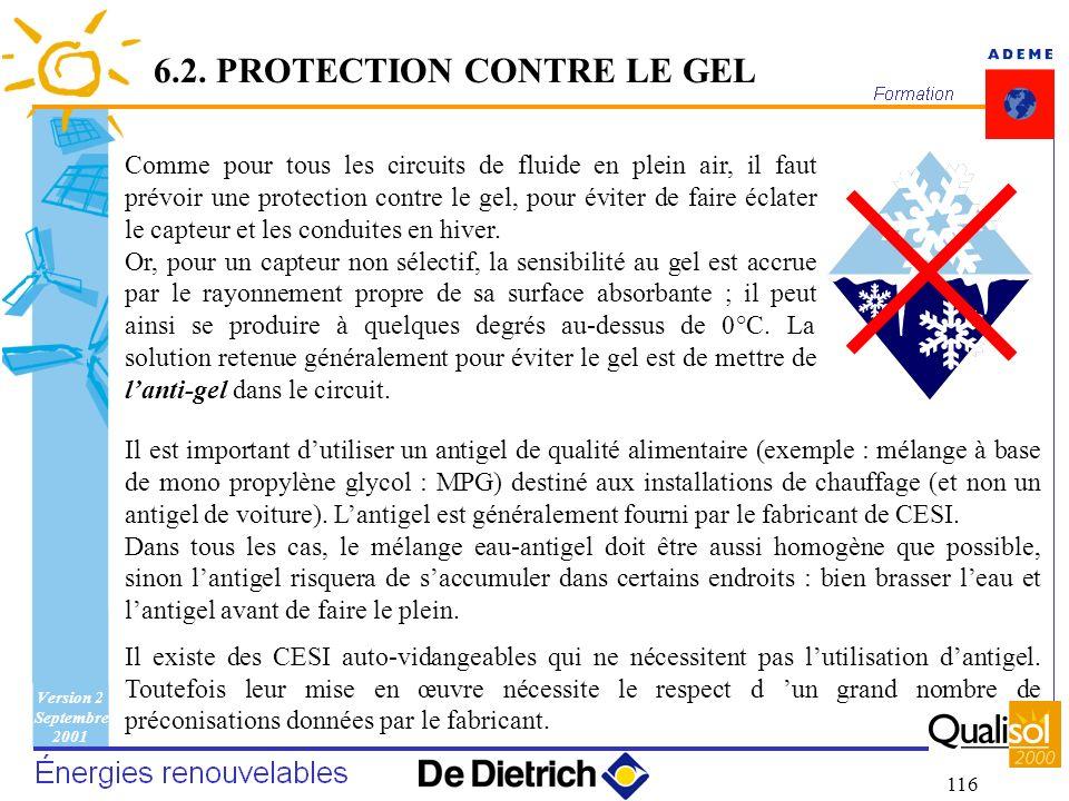 6.2. PROTECTION CONTRE LE GEL