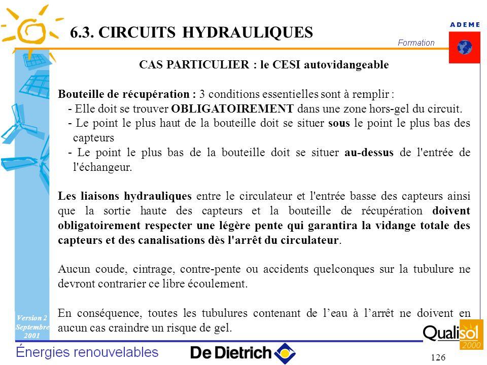 CAS PARTICULIER : le CESI autovidangeable