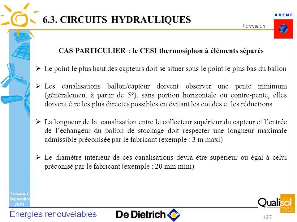 CAS PARTICULIER : le CESI thermosiphon à éléments séparés