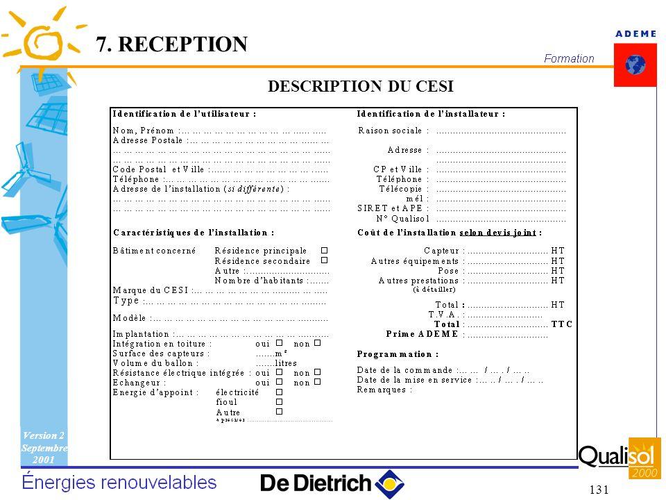 7. RECEPTION DESCRIPTION DU CESI