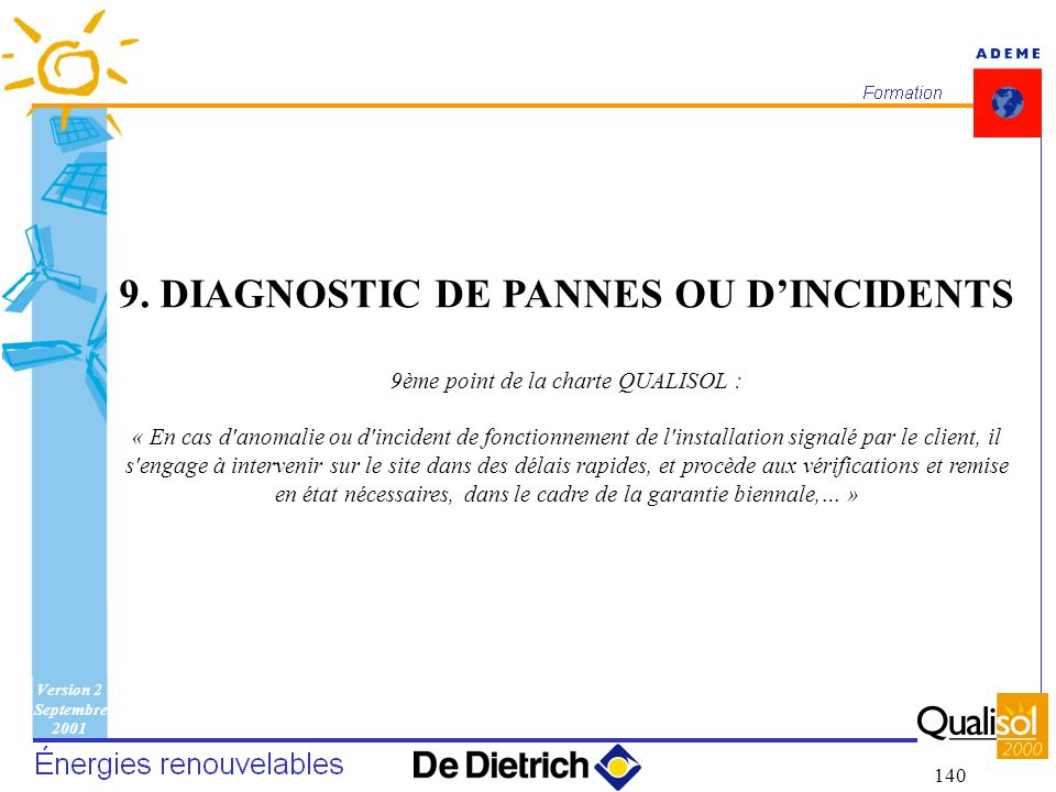 9. DIAGNOSTIC DE PANNES OU D'INCIDENTS