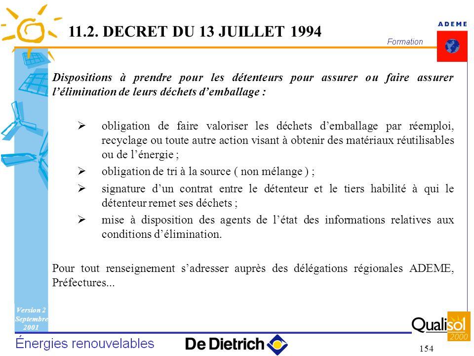 11.2. DECRET DU 13 JUILLET 1994 Dispositions à prendre pour les détenteurs pour assurer ou faire assurer l'élimination de leurs déchets d'emballage :