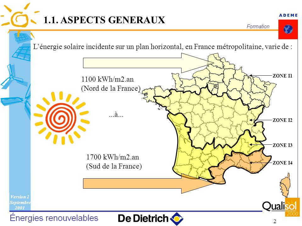 1.1. ASPECTS GENERAUXL'énergie solaire incidente sur un plan horizontal, en France métropolitaine, varie de :