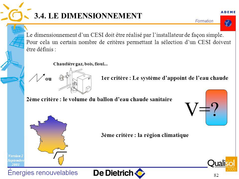 3.4. LE DIMENSIONNEMENT V= Le dimensionnement d'un CESI doit être réalisé par l'installateur de façon simple.