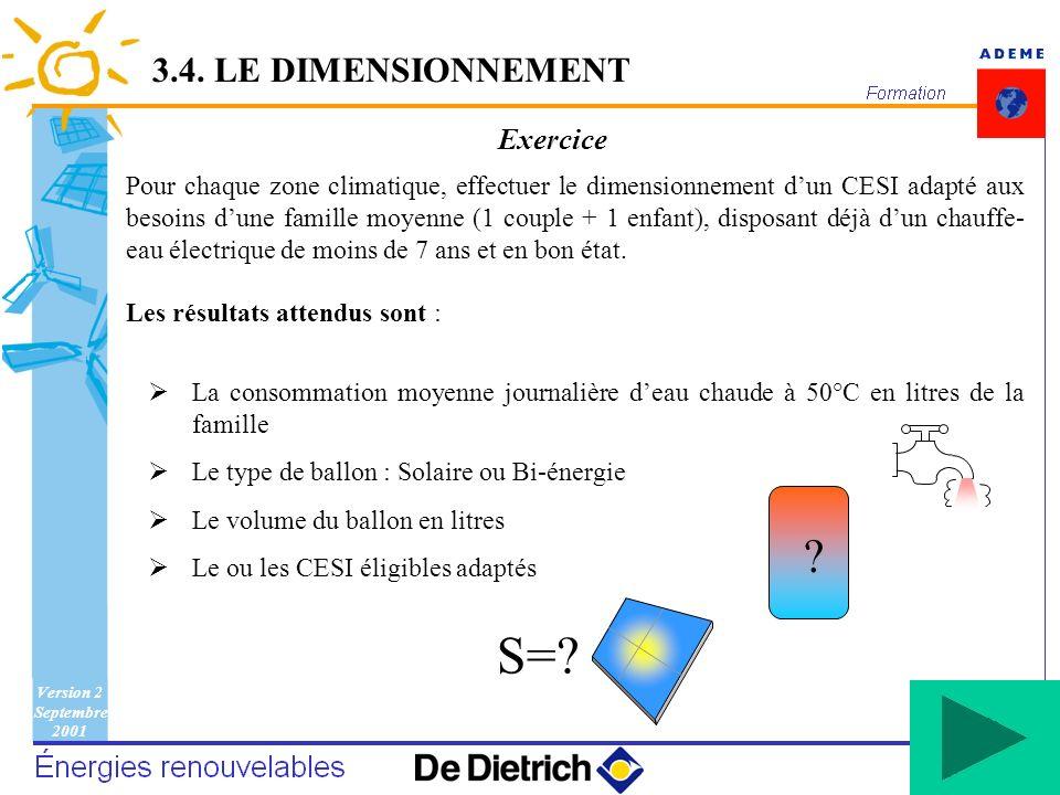 S= 3.4. LE DIMENSIONNEMENT Exercice
