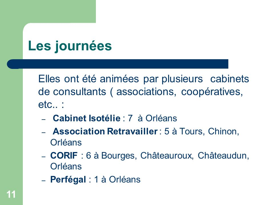 Les journées Elles ont été animées par plusieurs cabinets de consultants ( associations, coopératives, etc.. :