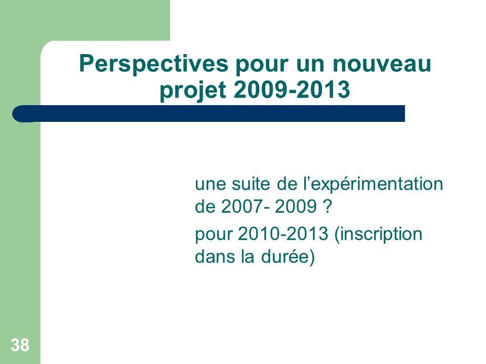 Perspectives pour un nouveau projet 2009-2013